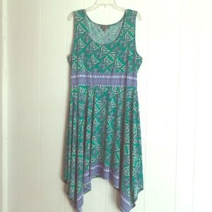 Green and Blue flowered dress